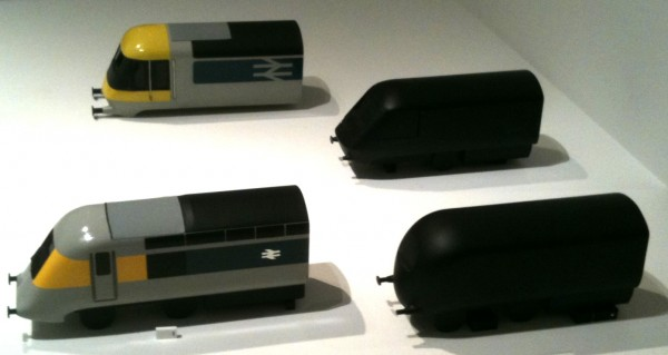 Photo of prototype models for British Rail's High Speed Train for which Grange designed the body shape and livery