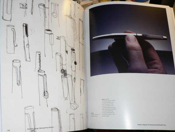 Photo of Grange's sketches of the Parker 25 in the exhibition catalogue